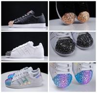 Wholesale Mans Shoes Metal - New Superstar Metal Toe Black White Hologram Iridescent Women Men Running Shoes Sneaker Originals Super Star Tennis Sport Run Shoes With Box