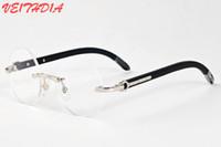 ingrosso occhiali neri delle donne nere-2017 designer di marca nero corno bufalo occhiali da uomo cerchio rotondo lenti telaio in legno occhiali da sole donne occhiali da sole senza montatura con custodia