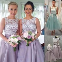 Wholesale Tea Length Wedding Dresses Organza - Tea Length Bridesmaid Dresses 2016 Lace Appliques Sheer Bateau Neck Lavender Organza Wedding Party Gowns With Sash Cheap Free Shipping