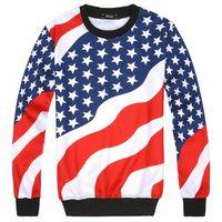 Wholesale american flag pullover - 2017 American FLag 3D printed Men's Hoodies fashion mens and women hoodie autumn winter hip hop sportwear Hoodies or Joggers
