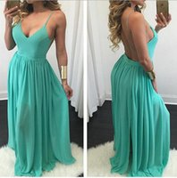 Wholesale Lady S Clothing Online - Online Shop Clothing 2016 Dresses For Ladies Sleeveless Halter Pleated Maxi Chiffon Party Dress OZM6717