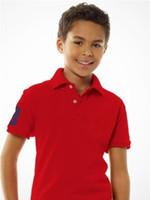 düz renkli gömlek çocukları toptan satış-Çocuklar Yaka T-shirt Yeni Kısa kollu Erkek Giyim Klasik Çocuk Erkek Kız Polos Tops t Gömlek Markalar T Shirt Pamuk Tees Katı Renk