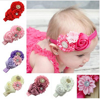 Wholesale Rose Bow Hair Band - Imitation Crystal Rose Flower Newborn Baby Headband Rubber Rose Girl Turban Hair Bands Cheer Bows Scrunchy Bandage hair accessories HA19