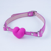 Wholesale Solid Silicone Toys For Woman - 10pcs lot Open Mouth Gag Pink Solid Heart Style Gags Silicone Sex Toy Slave Gag For Men And Women Adult Games