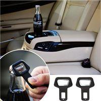 Wholesale Hot Car Bottle - Dual-use Car Safety belt Clip Car Seat Belt Buckle Vehicle-mounted Bottle Openers Black Hot Selling