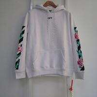 Wholesale Women Thin Sweater - OFF WHITE Tulips Hoodie Stripes Arrows Print Pullover Sweatshirts Men Women Oversized Fleece Hoodies Designer Hooded Sweater Coat PXG0705