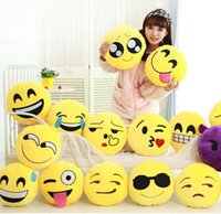 Wholesale Christmas Toy Car - 15cm Soft Emoji Smiley Emoticon Yellow Round Car Mini Cushion Pillow Stuffed Plush Toy Doll Christmas Present Keychain Pendant EMS FREE