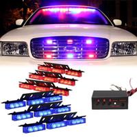 parrilla de coche de luz roja al por mayor-Rojo azul 54 LED 6X 9LED Advertencia de emergencia Vehículo Vehículo Policía Dash Grill Strobe Light Bar