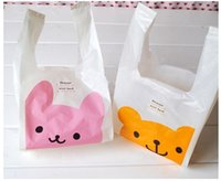 Wholesale Carrying Handle For Bags - Small size 28*15cm Mini cute pink bunny yellow Winnie Maga plastic bag with handle for jewelry carry bag vest bag 100pcs lot