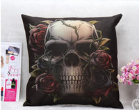 Wholesale Skull Throw - Stylish Skull Cushion Cover Cotton Linen Throw Pillow Case Cool Men Cushion Covers Bar Decor