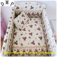 Wholesale Baby Bumper Bedding - Promotion! 6PCS cribs for babies baby bedding set kit berco baby cotton curtain crib bumper,include(4bumpers+sheet+pillowcase)