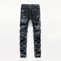 Wholesale Cheap Straight Jeans For Men - New fashion designed men's destroyed ripped Men fancy jeans ripped cheap jeans for men denim innovative design skinny jeans Size:29-38 Pants