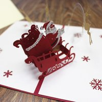 Wholesale Paper Cutting Christmas Greeting Card - Xmas greeting card pop up gift card red 3D deer Merry Christmas laser cut paper postcards