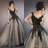 Wholesale Church Dresses Sleeves - 2016 Vintage Black Lace A Line Wedding Dresses Sheer Neck Cap Sleeves Custom Made 2015 Cheap Gothic Bridal Wedding Gowns For Church Vestidos