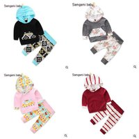 Wholesale 18 Month Boy Clothes Fall - 2pcs Spring Fall Baby Clothing Set Toddler Infant Geometric Floral Baby Boy Girl Clothes Hoodies Tops+Pants Outfits Set 1017