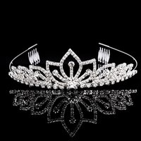 Wholesale Hair Accessories Stones - Beautiful Shiny Tiaras And Crowns Golden Quinceanera King Pageant Princess Bride Queen Girls Party Wedding Hair Accessories