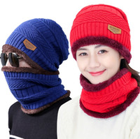 Wholesale Knitting Set For Girls - Beanie Hat Scarf Set Knit Hats Warm Thicken Winter Hat for Men and Woman Unisex Cotton Beanie Knitted Caps