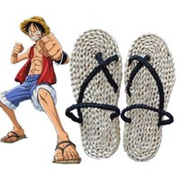 Wholesale Monkey D Luffy Cosplay - Wholesale-Free Shipping Anime One Piece Monkey D Luffy Cosplay Costume Straw Shoes Handmade Sandals Slippers 62101