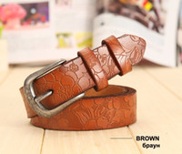 Wholesale Coloured Belts Leather - 2017 New Women Belt Thin Genuine Leather Belt woman 5 Colour Floral carved Belts For Women Ceinture Femme