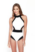 Wholesale Cheap Vintage One Piece Swimsuits - newest Cheap Wholesale Sexy Black halter top swimwear women's one piece swimsuit Bathing Suit vintage bandage sexy triangle beachwea