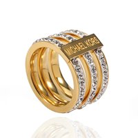 Wholesale Stainless Steel Gold Heart Ring - TL gold plated stainless steel Multilayer Rings for women fashion new design Charm brand jewelry