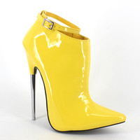 Wholesale Shoes Sex White - Wonderheel appr.18cm heel ultra high heels pointed toe patent yellow women shoes sex fetish stiletto metal heel ankle boots