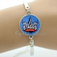 chicago art achat en gros de-Trendy cas de bijoux de sport pour Chicago Staggs logo bracelet art photo verre cabochon bracelets fans de balle cadeaux NF012