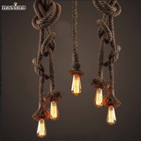 Wholesale Edison Industrial - Wholesale-2015 Retro Vintage Rope Pendant Light Lamp Loft Creative Personality Industrial Lamp Edison Bulb American Style For Living Room