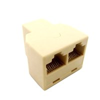 divisor de cable lan al por mayor-Al por mayor- RJ45 Splitter conector CAT5 LAN Ethernet Splitter adaptador 8P8C red Dual