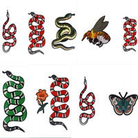 ingrosso macchie di ferro fiorite-patch ricamate combo cucire o iron-on serpente ape farfalla motivi floreali zakka appliques fai da te patchowrk per cucire vestito