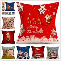 Wholesale Xmas Throw Pillows - 17 inch Christmas Pillows Case Xmas Pillow Cover Reindeer Elk Throw Cushion Cover Tree Sofa Nap Cushion Covers Santa Claus Home Decor C2669
