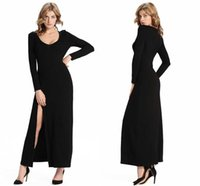 Wholesale Maxi Cotton Long - Sexy Black New Autumn Long Club Dress Casual Cotton Long Sleeves Maxi ladies Side Split Dress Party Dresses FS0273