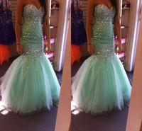 akşam elbiseleri nane nişan toptan satış-Glitz Mermaid Nane Yeşil 2k16 Gelinlik 2016 Yeni Sevgiliye Kristal Boncuk Bling Tül Uzun Sweep Tren Örgün Akşam Elbise Parti Törenlerinde