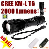 Wholesale Cave For Sale - New Arrival Black Ultrafire LED Flashlights Durable Cree XML T6 LED Torches for Camping 2000 Lumen Aluminum Alloy Material Hot Sale XML3T6