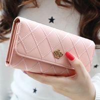 Wholesale Wallet Key Clip - 1PC PU Lady Hand Purse Clear color long Korean hasp Lingge love note clip female crown wallet