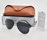 защита приводов оптовых-Отличный бренд поляризованные солнцезащитные очки Мужчины Женщины пилот солнцезащитные очки металлический каркас вождения очки UV400 защиты Goggle с коричневый чехол