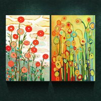 Wholesale Printed Backdrops - 2pcs No Frame Canvas Painting On Print Chic Abstract Flowers Painting Bedroom Painting the Living Room Sofa Backdrop Wall Picture Posters