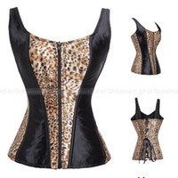 Wholesale Burlesque Halter Corset - Wholesale-Gothic Corsets And Bustiers Overbust Satin Corset Waist Training Lace Up Burlesque Costumes Halter Zipper Corset Corselet TYQ
