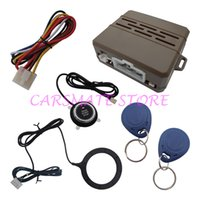 Wholesale Car Rfid Card - Top Car Engine Push Start Button RFID Car Alarm System Transponder Tag & Card Push Button Start With Blue Backlight & New Loop