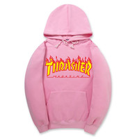 Wholesale Thick Winter Sweaters Men - 2017 autumn and winter new pink fire hoodies plus velvet thick section of youth sports with cap fleece sweater