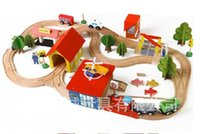 Wholesale Thomas Train Car Wooden - Wooden Thomas Train Track Set Toys House Trees Cars DIY Intelligence-Improved High Quantity Simulatio Kid' Gifts Collecting Home Decoration