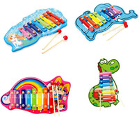 Wholesale Dinosaurs Wood - Baby's Wooden 8-Note Xylophone Tractor Musical Toys Children Hand Knocking Piano Rabbit Dinosaur Mermaid Music Instrument Learning Tool Toys