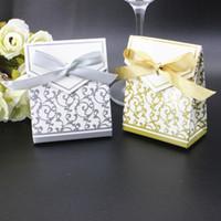gümüş bebek lehçesi toptan satış-Şerit Kağıt Torbalar Bebek Duş Çikolata Favor Sahipleri Kutuları Gümüş Altın Şeker Kutusu Düğün Doğum Günü Partisi Için 0 18wj B R