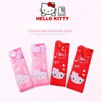 Wholesale Kitty Car Seat Covers - Hello Kitty Seat Belt Cover Shoulder Pad Cartoon Kawai Car Safety Belt Soft Strap Protection