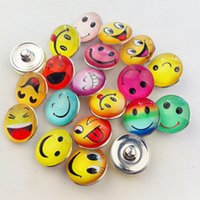 Wholesale smile face button - 30pcs lot Mix Colors Glass Dome Smile Face Noosa Chunks Metal Ginger 18mm Snap Buttons For Diy Bracelet Jewelry Findings