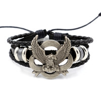 Wholesale Eagle Leather Bracelet - Korean Fashion Men's Wristband Hand-woven Leather Bracelet Simple Stretching Punk Style Eagle Infinity bracelet Gift jewelry
