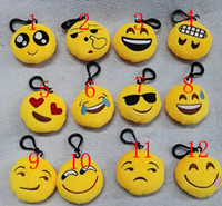 Wholesale Dolls Toys Keychain - 100pcs Lot 6cm Christmas Gifts KeyChain Emoji Smiley Small pendant Emotion Yellow QQ Expression Stuffed Plush doll toy for bag pendant