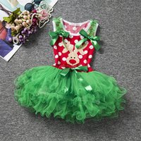 Wholesale Wholesale Winter Tires - New baby girls christmas dress sleeveless infant kids tutu tired skirts lovely child girl's dot dresses deer X'mas holiday clothes