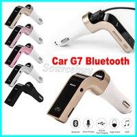 ingrosso sd input-Trasmettitore FM per auto G7 Kit per auto Bluetooth senza fili Caricatore per MP3 Caricatore USB Supporto Micro SD TF Card Ingresso audio AUX senza mani
