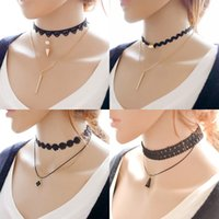 Wholesale Multi Layer Long Necklaces - Hot Sale Multi-Layer Tattoo Choker Necklace Charm Long Tassel Adjustable Pendants Necklaces for Women Black Lace Chokers